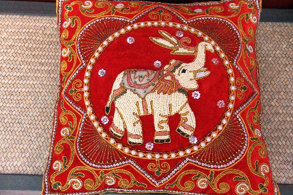 Kissenhülle, Kissenbezug, Elefant, Pailletten, Perlen, Indien, Rot