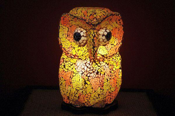 tischlampe tischleuchte stehlampe lampe eule orange bunt indien. Black Bedroom Furniture Sets. Home Design Ideas