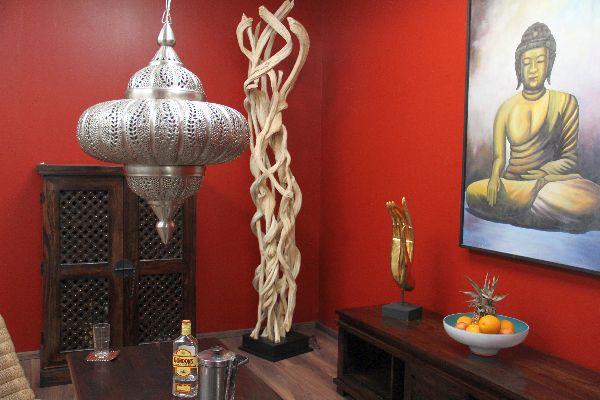 stehlampe stehleuchte bodenlampe holz massiv lianen wei 210cm. Black Bedroom Furniture Sets. Home Design Ideas