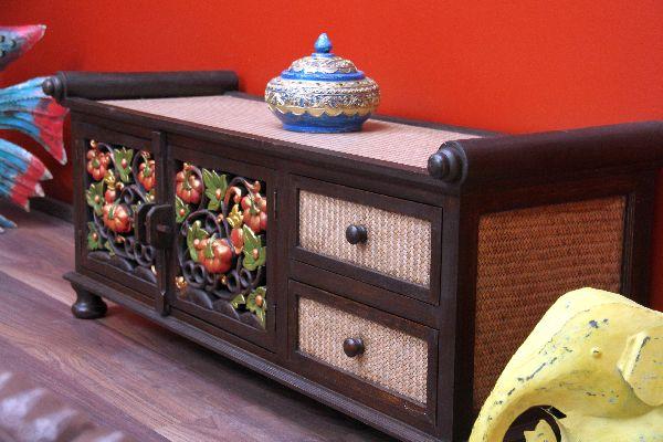 sideboard lowboard tv hifi holz rattan schnitzereien. Black Bedroom Furniture Sets. Home Design Ideas