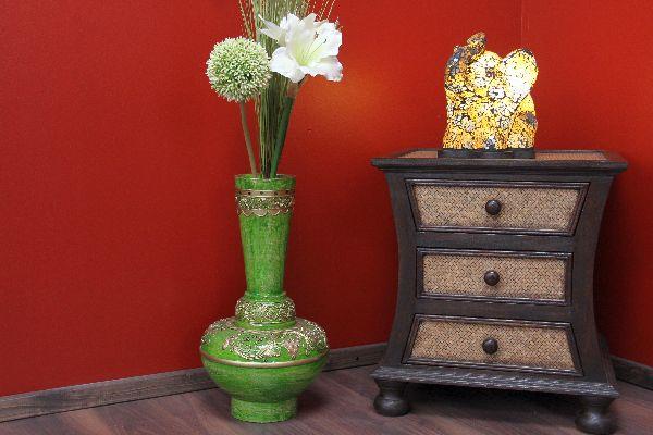 vase holz deko gr n asiatisch orientalisch verziert gold. Black Bedroom Furniture Sets. Home Design Ideas