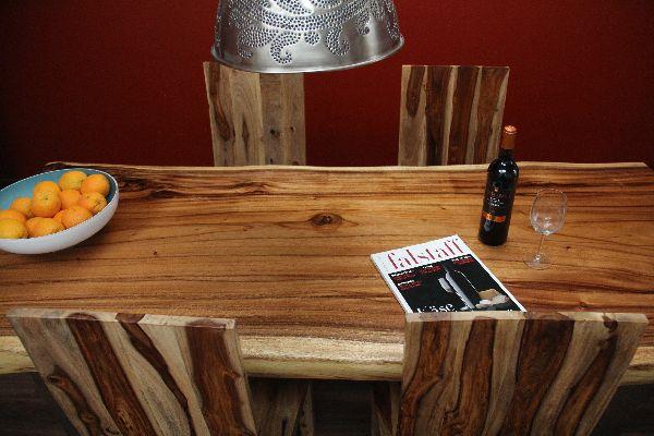 tisch suar holz edelstahl 200x86x78 massiv natur esstisch schreibtisch platte ebay. Black Bedroom Furniture Sets. Home Design Ideas