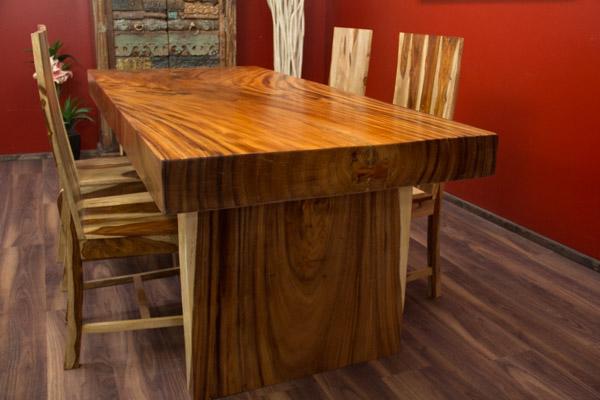 esstisch suar holz massiv tisch baumscheibe natur 201x90x78. Black Bedroom Furniture Sets. Home Design Ideas