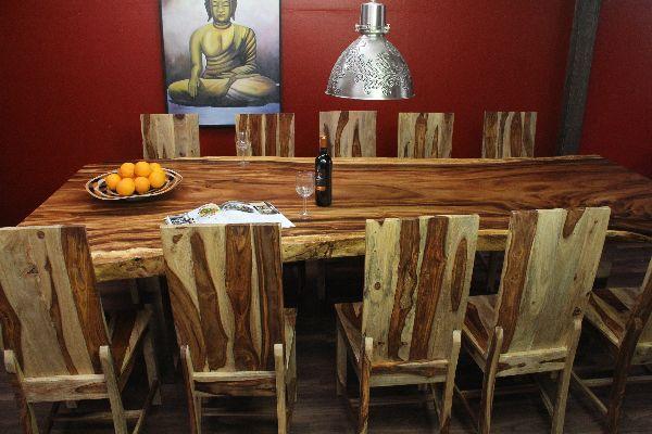 Esstisch Suar Massivholz 300x134x79 Edelstahl Beine Füße Natur Tisch