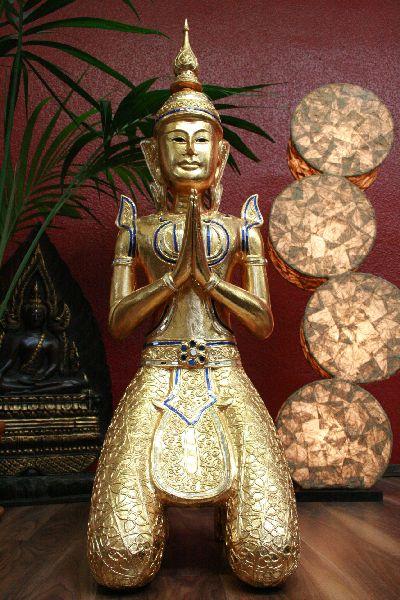 buddha figur statue skulptur holz gold betend willkommensgeste. Black Bedroom Furniture Sets. Home Design Ideas