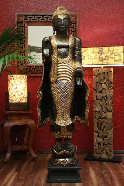 buddha skulptur figur statue bild holz gro gold 200cm ebay. Black Bedroom Furniture Sets. Home Design Ideas