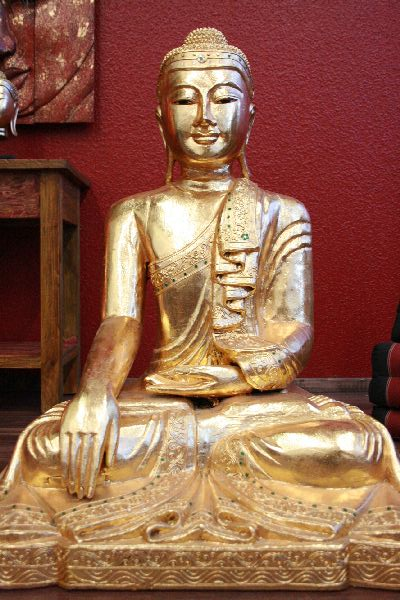 buddha sitzend gold vollvergoldet gro skulptur figur statue holz massiv neu ebay. Black Bedroom Furniture Sets. Home Design Ideas