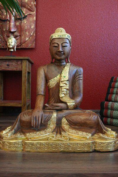 buddha sitzend statue figur skulptur holz natur gold thailand. Black Bedroom Furniture Sets. Home Design Ideas