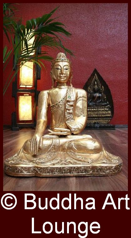 buddha sitzend figur statue holz gold massiv skulptur gro thailand original neu ebay. Black Bedroom Furniture Sets. Home Design Ideas