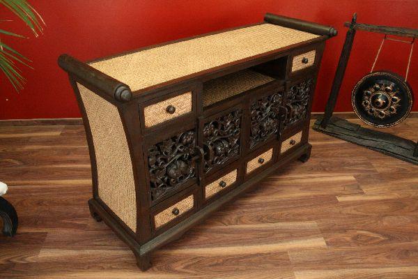 sideboard tv hifi schrank kommode highboard rattan holz massiv t ren schubladen ebay. Black Bedroom Furniture Sets. Home Design Ideas