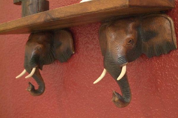 elefanten kleiderhaken garderobe regal wandregal holz ebay. Black Bedroom Furniture Sets. Home Design Ideas