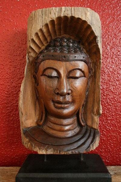 Buddha statue figur b ste relief holz massiv 48cm for Buddha figur holz