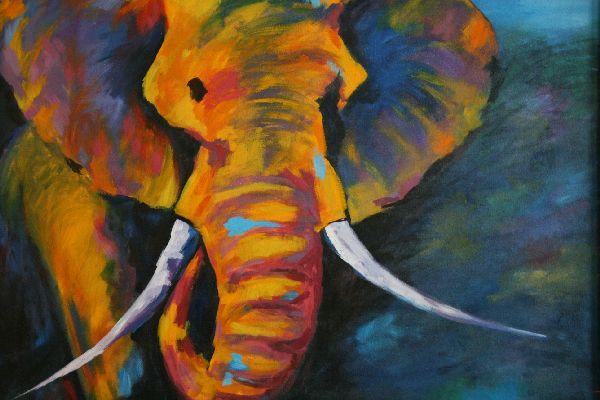 malerei gem lde acryl leinwand elefant 92 x 112 5x5. Black Bedroom Furniture Sets. Home Design Ideas