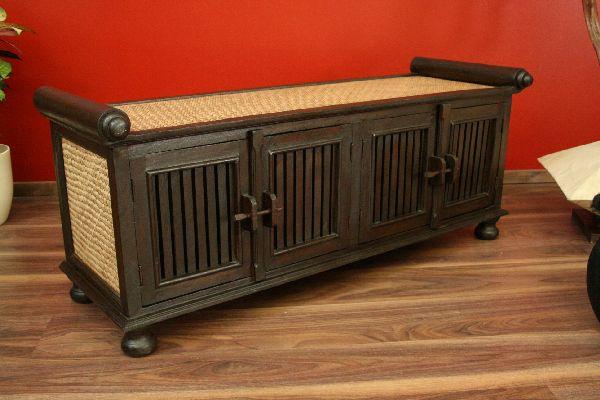 sideboard schrank tv hifi massiv holz rattan lowboard fernsehschrank t ren neu. Black Bedroom Furniture Sets. Home Design Ideas