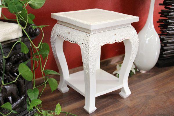 Nachttisch Beistelltisch Holz ~ Details zu Beistelltisch Konsole Nachttisch Weiß Holz Massiv Verziert