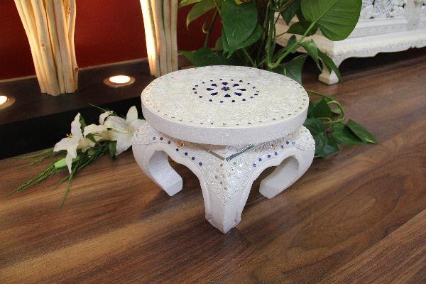Beistelltisch Weiß Opiumtisch Rund 25x20cm Massiv Holz