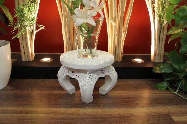 Beistelltisch Rund Holz Dunkel ~ Beistelltisch, Opiumtisch, Rund, Holz, Verzierungen, Weiß, Rot, 25×20