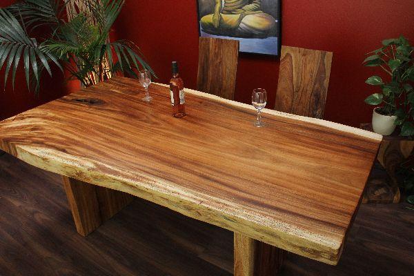 Schreibtisch holz natur  Esstisch Holz Massiv 200x109x80 Suar Honig Natur Küchentisch ...