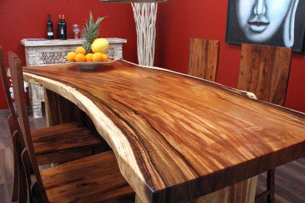 Tischplatte holz natur  Esstisch Suar Holz Massiv 200x100x79 Natur Tisch Tischplatte ...