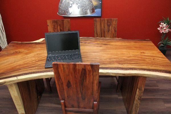 schreibtisch suar holz massiv 200x93x79 natur tisch. Black Bedroom Furniture Sets. Home Design Ideas