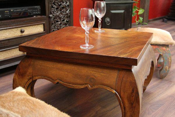 opiumtisch couchtisch 67x67x40 holz massiv natur opium tisch wohnzimmertisch neu ebay. Black Bedroom Furniture Sets. Home Design Ideas