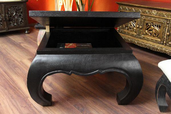 Opiumtisch, Couchtisch, Truhe, Holz, Massiv, Schwarz, 67x67x41