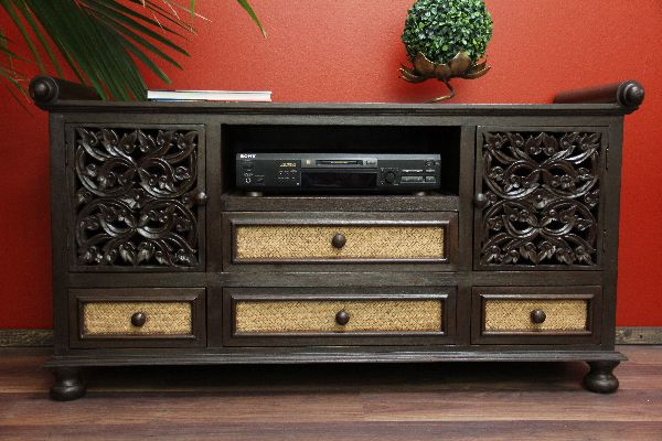 sideboard tv hifi holz rattan schnitzereien lotus blumen schrank asien thailand ebay. Black Bedroom Furniture Sets. Home Design Ideas