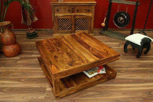 Couchtisch Stauraum 90x90x40 Sheesham Holz Massiv