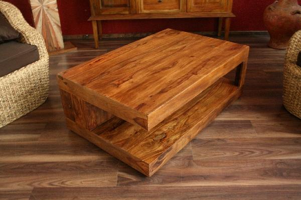 Wohnzimmertisch Holz Couchtisch massiv holz sheesham cm