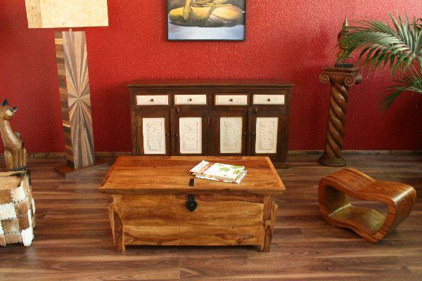 couchtisch truhentisch kolonialstil 110x60x45 truhe tisch massiv holz sheesham ebay. Black Bedroom Furniture Sets. Home Design Ideas