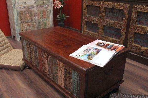 Detalles de Truhentisch sofá mesa arcón 120x60x45 colonial madera