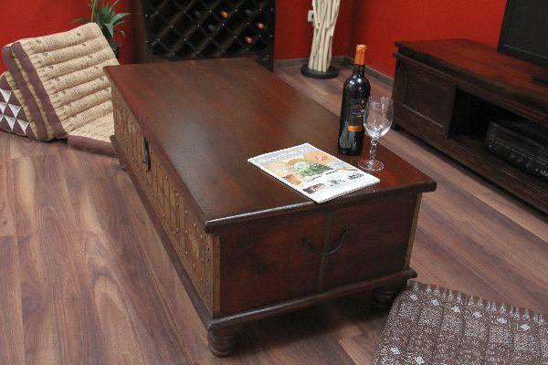 truhentisch couchtisch truhe 130x63x44 kolonialstil holz massiv bronze indien ebay. Black Bedroom Furniture Sets. Home Design Ideas