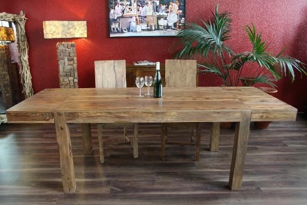 Esstisch Holz Naturbelassen ~ Esstisch, Küchentisch, Erweiterbar, Holz, Massiv, 120 (200) x 80 x 77