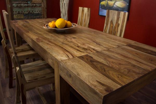 erweiterbarer sheesham massivholz esstisch honigfarben. Black Bedroom Furniture Sets. Home Design Ideas