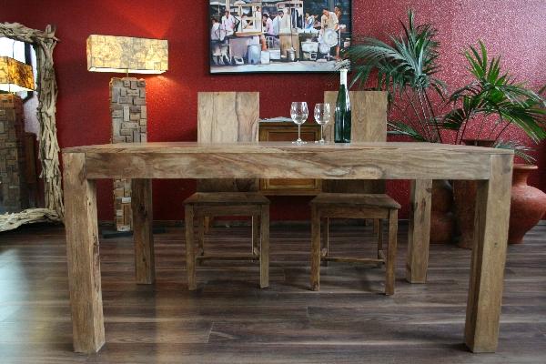 esstisch erweiterbar massiv holz 120x80 200x80 bali k chentisch holztisch natur ebay. Black Bedroom Furniture Sets. Home Design Ideas