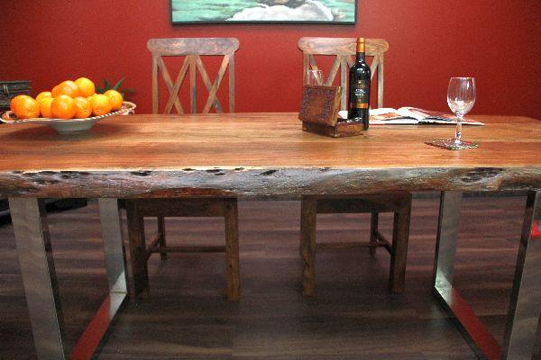 Esstisch Beine Holz ~ Esstisch, Suar, Massiv, Holz, Tisch, Beine, Stahl, Poliert, 214x101x77