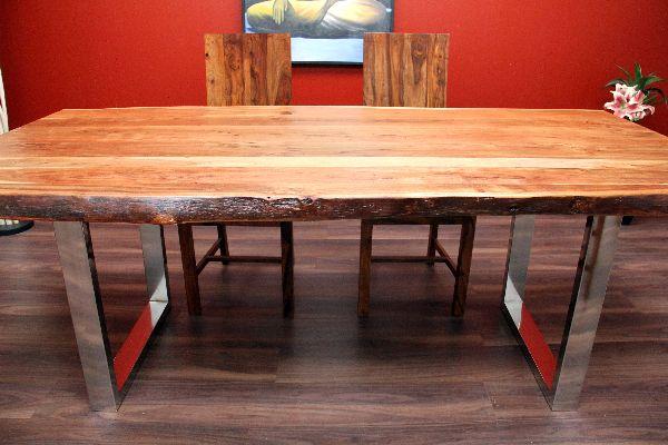 esstisch suar massiv holz tisch beine stahl poliert. Black Bedroom Furniture Sets. Home Design Ideas