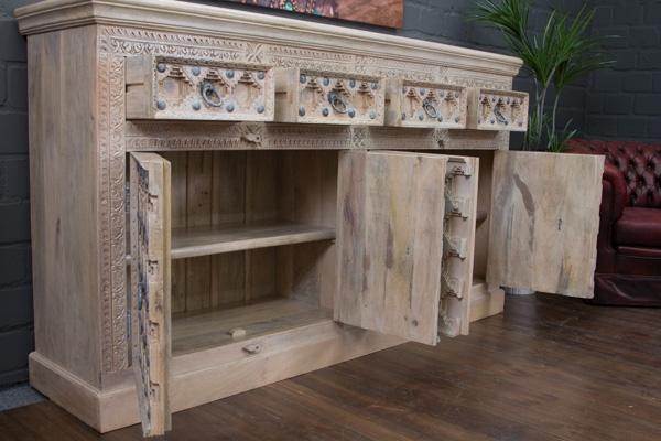 indisches highboard im kolonialstil beige gek lkt. Black Bedroom Furniture Sets. Home Design Ideas