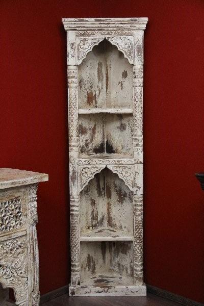 eckregal wei antik kolonial regal holz massiv indien 180x41x41. Black Bedroom Furniture Sets. Home Design Ideas