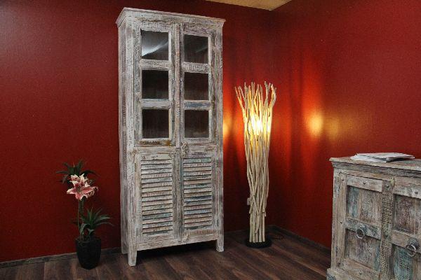 vitrine buffet schrank gek lkt wei pastell massivholz 211x90x40. Black Bedroom Furniture Sets. Home Design Ideas