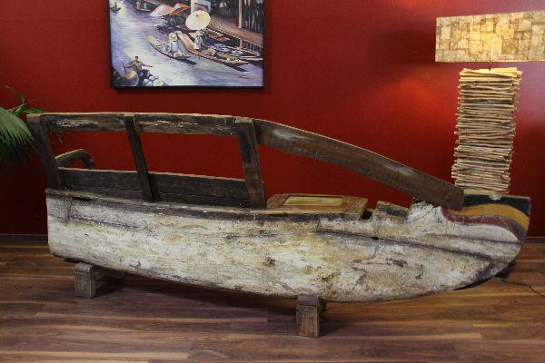 sitzbank holzbank boot original holzboot 281cm massiv holz teak recycelt farbig ebay. Black Bedroom Furniture Sets. Home Design Ideas