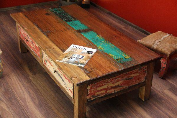 Couchtisch Holz Ausgefallen ~ Couchtisch, Holz, Massiv, Schubladen, Mehrfarbig, Recycelt, 150x80x45