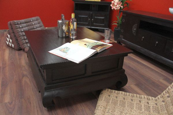wohnzimmertisch antik:Schubladen 100x80x41 Massiv Holz Wohnzimmertisch Antik Kolonial Ja
