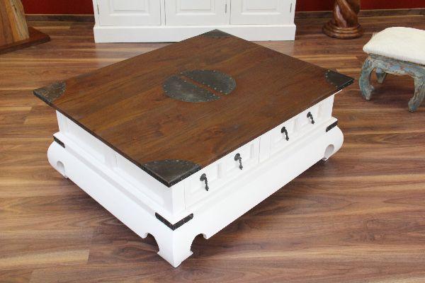 couchtisch wohnzimmertisch 100x80x41 holz wei braun. Black Bedroom Furniture Sets. Home Design Ideas