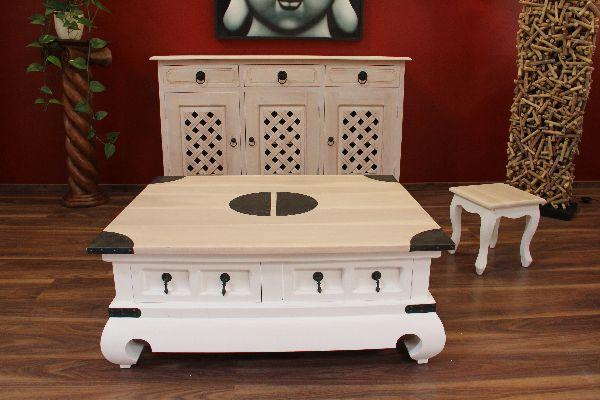 couchtisch holz massiv 100x80x40 wei gek lkt bronze schubladen landhaus stil. Black Bedroom Furniture Sets. Home Design Ideas
