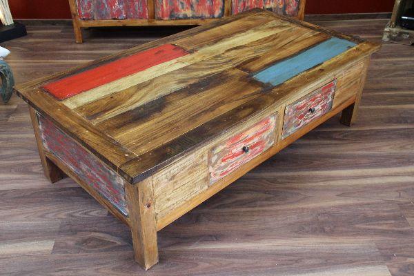 Couchtisch, Holz, 150x80x45, Massiv, Schubladen, Shabby Chic, Bunt