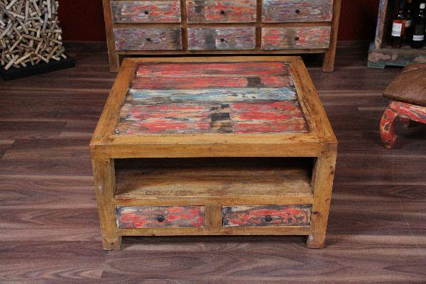 couchtisch holz quadratisch schubladen recycelt bali. Black Bedroom Furniture Sets. Home Design Ideas