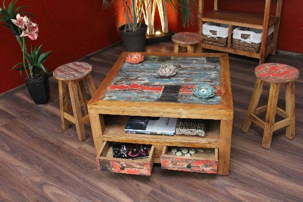 Couchtisch Holz Quadratisch ~ Couchtisch Holz Teak Bali 80x80x45 Recycelt Quadratisch Schubladen