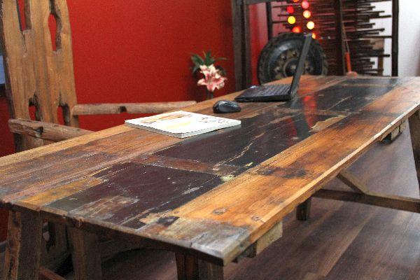 tisch esstisch schreibtisch teak holz massiv bunt. Black Bedroom Furniture Sets. Home Design Ideas