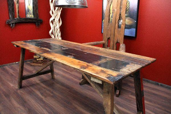 Esstisch Vintage Bunt ~ Tisch, Esstisch, Schreibtisch, Teak, Holz, Massiv, Bunt, Bali, 190x75x79